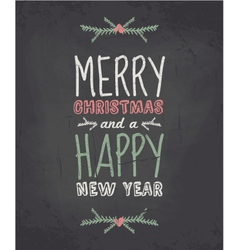 Chalkboard style vintage christmas greeting card vector