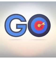 Target and arrow word go vector