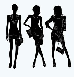 Woman silhouette set vector