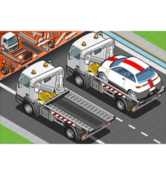 Isometric tow truck in car assistance in rear view vector