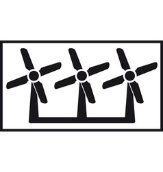 Windmill icon with three fan vector