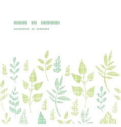 Textile textured spring leaves horizontal frame vector