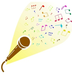 Microphone silhouette with notes vector