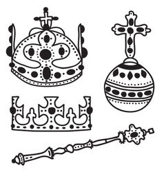 Set of crown jewels vector