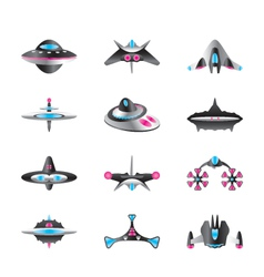 Different types of spaceships vector
