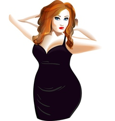 Plus size model in a black dress vector