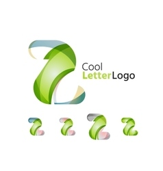 Set of abstract z letter company logos business vector