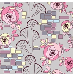 Roses on a brick wall seamless pattren vector