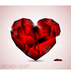 Broken red diamond jewel heart vector