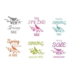 Spring sale badge signs vector