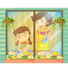 A child helping her mother washing the dishes vector