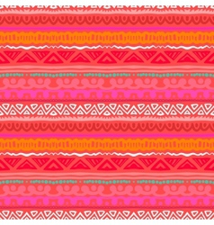 Striped ethnic pattern in vibrant red orange vector