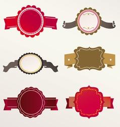 Frame labels ribbon set vintage vector