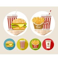 Hamburger french fries and vector