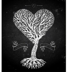 Tree crown like heart on black vector