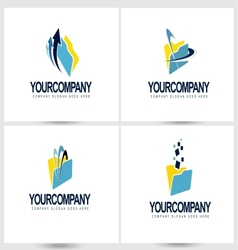 Documents logo with arrows and swashes vector