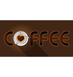 Coffee word with top view of cappuccino cup vector