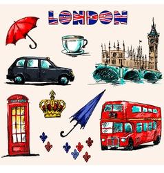 London symbols set of drawings vector