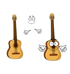 Happy cartoon wooden acoustic guitar vector