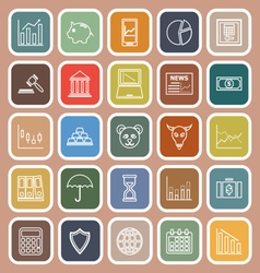 Stock market line flat icons on brown background vector
