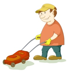 Lawn mower man vector