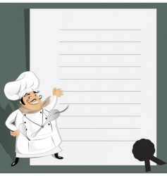 Chef with menu and recipe vector