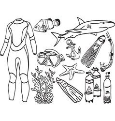 Diving equipment and sea life vector