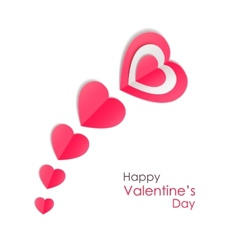 Valentines day background with paper hearts vector