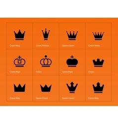 Crown icons on orange background vector