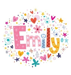 Emily female name decorative lettering type design vector