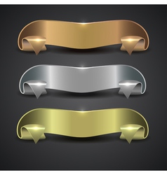Set of metal banners in the form of a tape vector