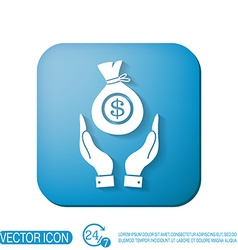Hands holding bag of money vector
