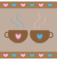 Two teacups with hearts love card vector