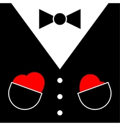 Mens suit with bow tie and hearts vector