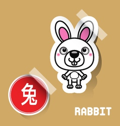 Chinese zodiac sign rabbit sticker vector