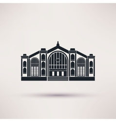 Railway station building icon in the flat style vector