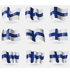 Set of finland flags in the air vector