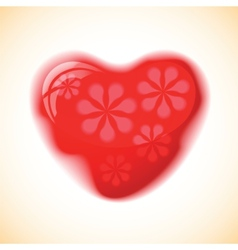 Heart red shape on colorful background vector