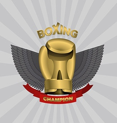 Golden glove boxing cup boxing emblem team and vector
