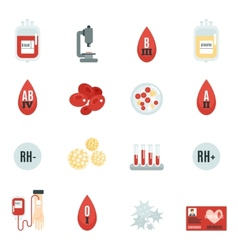 Blood donor icons flat vector