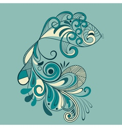 Fish with flaral pattern detailed tail vector