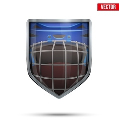 Bright shield in the ice hockey helmet inside vector