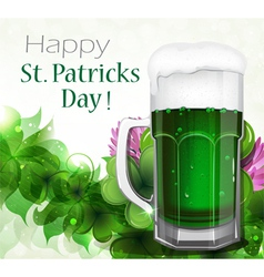 Green beer on clover background vector