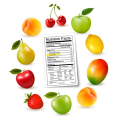 Fresh fruit with a nutrition facts label vector