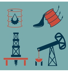 Oil industry elements and symbol of fall and rise vector