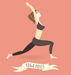 Young woman practicing warrior yoga pose flat vector