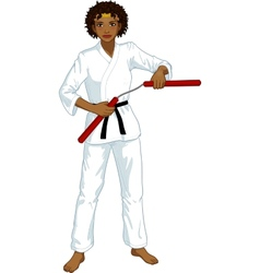 African american nunchuck girl in karategi vector