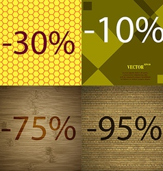 10 75 95 icon set of percent discount on abstract vector