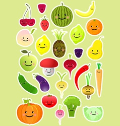 Collection of funny vegetables and fruit vector