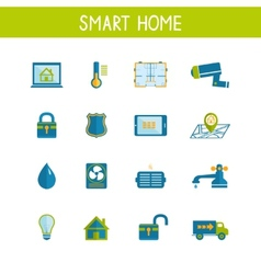 Smart home automation technology icons set vector